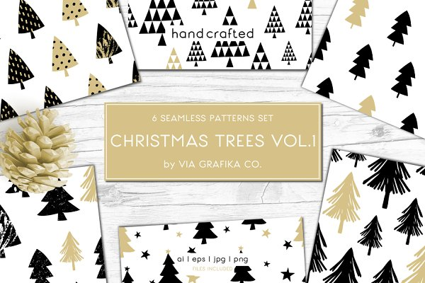 Christmas Trees Pattern Set