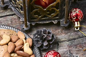 wild nuts and Christmas light