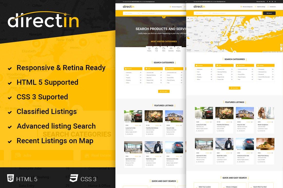 template for listing directory job website templates creative market. Black Bedroom Furniture Sets. Home Design Ideas