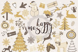 Gold christmas digital clip arts