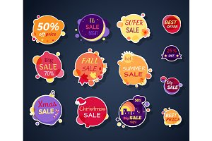 Set of Vector Sale Stickers