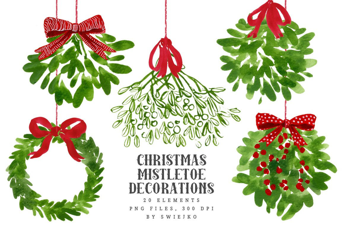 mistletoe christmas clip art illustrations creative market - Mistletoe Christmas Decoration