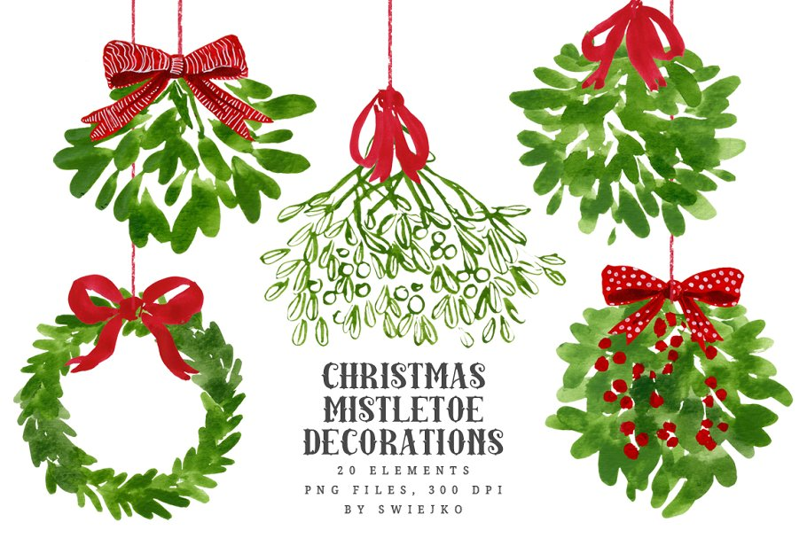 Christmas Illustration.Mistletoe Christmas Clip Art Illustrations Creative Market