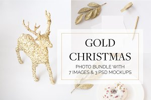 Gold Christmas Images & PSD Mockups