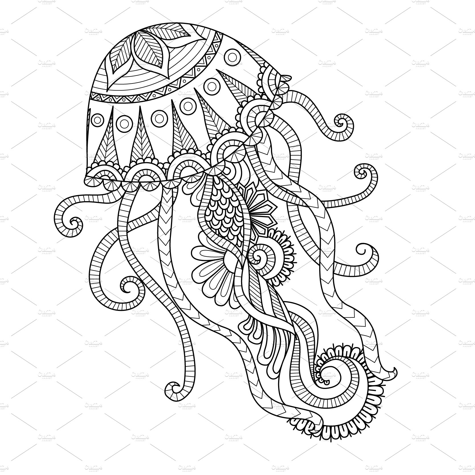 Zendoodle Of Jellyfish Illustrations Creative Market