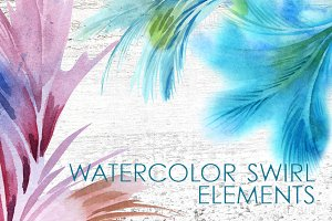 Watercolor Swirl Elements