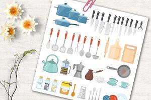 Kitchen tools. Vector illustration