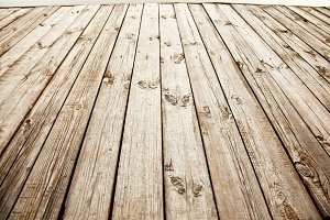 Close up shot of old wooden deck