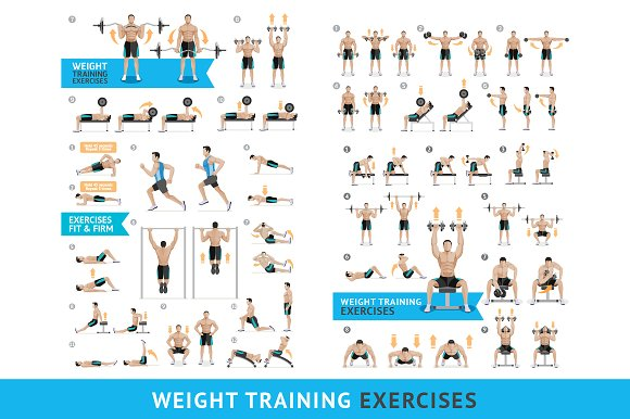 Dumbbell Exercises Weight Training Pre Designed Photoshop Graphics Creative Market