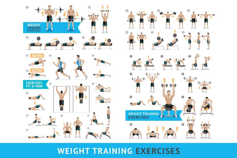 Dumbbell Exercises Weight Training  ~ Illustrations