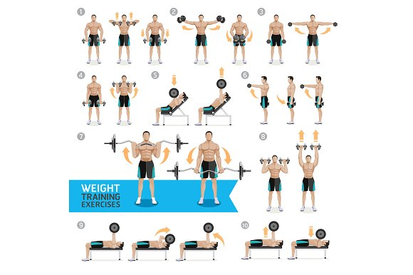 Dumbbell Exercises Weight Training Pre Designed Photoshop Graphics Creative Market