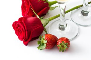 Champagne,roses and strawberries