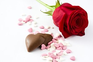 Red rose, chocolate and candies