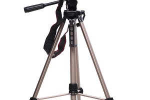 Photo camera on tripod