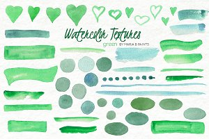 Watercolor Clip Art - Green