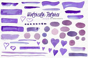 Watercolor Clip Art - Purple