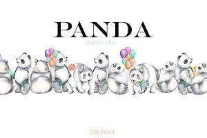 watercolor PANDA set