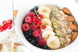 Oatmeal porridge with berries.