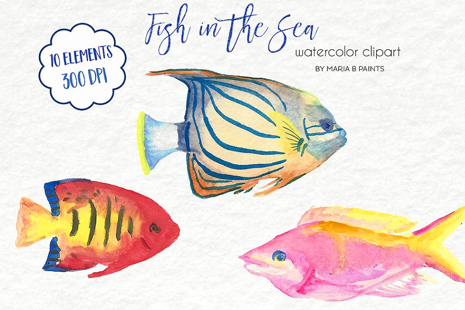Watercolor Clip Art - Tropical Fish in Illustrations