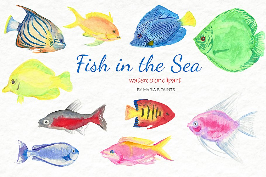 Watercolor Clip Art - Tropical Fish in Illustrations - product preview 1