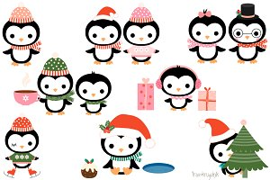 Cute Christmas penguins clip art set