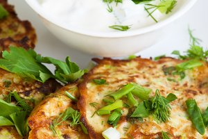 Cabbage pancakes with yogurt