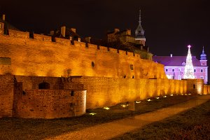 Old Town Wall at Night in Warsaw