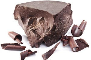 Chocolate block and chips near