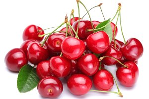 Image cherries on a white background