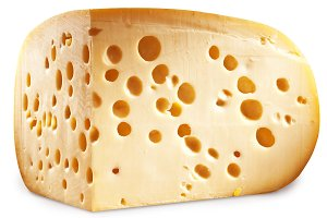 Quarter of Emmental cheese head