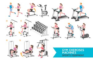 Gym Exercises Machines Sports.