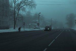 old man in fog