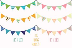 Flag Banners, Bunting Vector Clipart