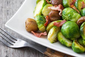 Brussels sprouts,chestnuts and bacon