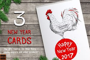 Cock / Rooster on the New Year cards