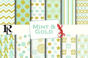 Gold and Mint digital paper