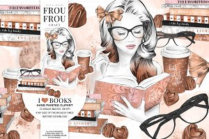Coffee & Books Clip Art