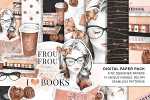 Coffee & Books Paper Pack