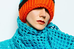 Beanie hat and knitted scarf