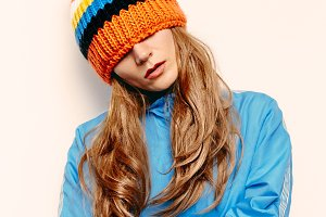 knitted hat with pompon