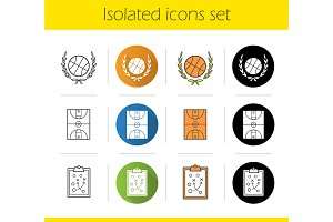 Basketball. 12 icons. Vector