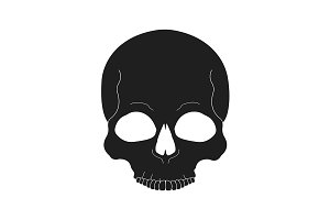 Black human skull icon. Vector