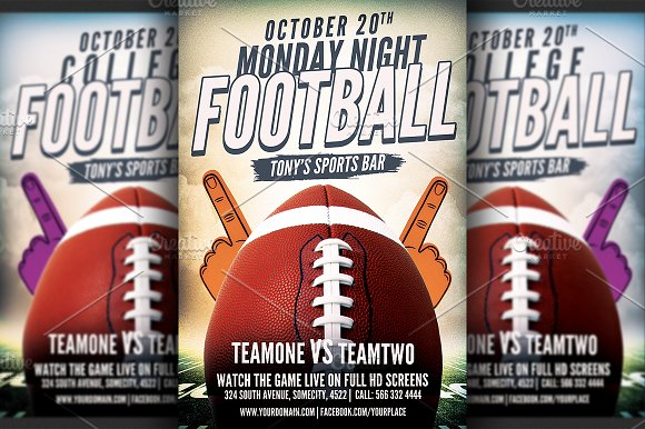 American Football Flyer Template Flyer Templates on Creative Market – Bar Flyer Template