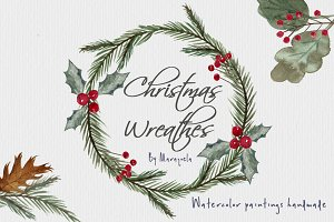Watercolor Christmas Wreathes