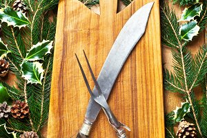 Christmas background & carving fork