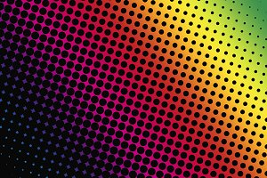 Abstract background of black dots on pink background red yellow and green