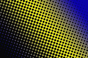 Abstract background of black dots on yellow and blue background