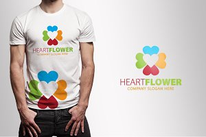Heart-Love Flower logo