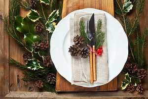 Christmas background. Table.