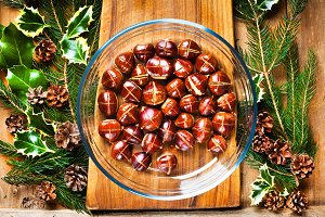 Christmas background with chestnuts